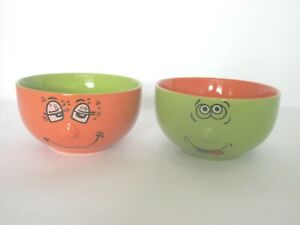 PAIR TRADE WINDS TYPE FUNNY FACE EXPRESSIONS ORANGE & GREEN CEREAL SOUP BOWLS