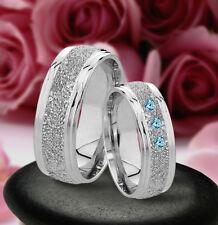 Trauringe Eheringe Verlobungsringe mit echten Blautopas , Silber 925 , J30-3B