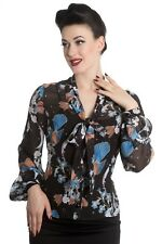 Hell Bunny Starry Night Sky Floral Birds Vintage Retro 50s Rockabilly Blouse Top