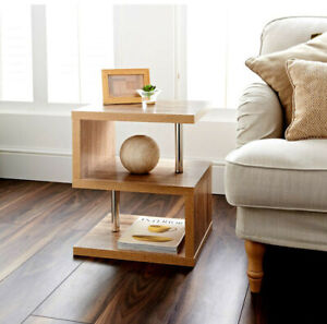 Dylex Oak 2 Tier Side Table Elegant Design Living Room Furniture Coffee Table