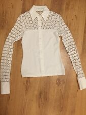 Anne Fontaine White Lacy Stretchy Tight Fit Shirt EU 36 Uk 8