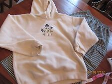 Girl size 7/8 Kelly's Kids Outfit Floral Cream Hoodie Fleece Top Plaid Pants 8