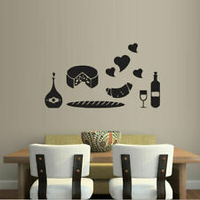 Wall Decal Kitchen Products Long Loaf Croissant Cheese Wine Cafe Love Room M441