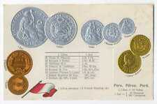 Peru Peruvian Coins on German Ad Postcard ca 1906 Rare Mint Condition Type I