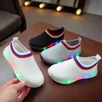 Children Kids Baby Girls Boys Mesh LED Luminous Sport Run Sneakers Shoes