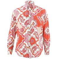 Men's Loud Shirt Retro Psychedelic Funky Party TAILORED FIT Paisley Pink Orange