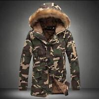 Mens Hooded Camo Long Parka Coat Winter Warm Korean Thick Faxu Fur Collar Jacket