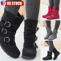 Womens Winter Warm Ankle Boots Ladies Fur Snow Buckle Suede Shoes Booties Size