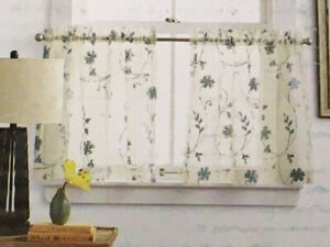 "JC Penney Home 24"" Embroidered Cafe Curtain Tier Set - Malta Fog Blue"