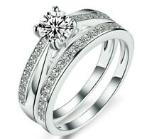 Sterling Silver 925 Round Cut Cubic Zirconia Solitaire Engagement Ring Set UK