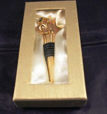 "Very Nice 3.5"" Brass Wine Stopper ""50"" with Faux Jewels Guc"