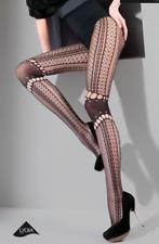 Gabriella Zazu Black Patterned Tights herringbone style Opaque 8 10 12 14 16