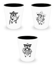 Cat shot glass set of 3 - funny mariachi