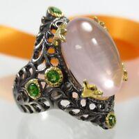 B024 Unikat Rosenquarz Chromdiopsid Ring 925 Silber Rhodium Gold verg. Jugendsti