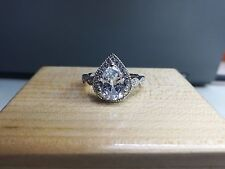 Engagement Ring 10K White Gold 2.50ct Pear cut Diamond Halo