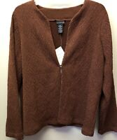 New Citiknits Womens L Mahogany Brown Textured Travel Knit One Button Jacket