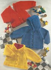 "Baby Easy Knit Chunky Jacket Knitting Pattern Hood or collar option 18-28""  794"