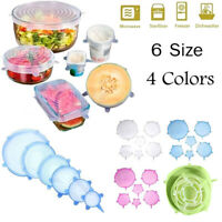 6Pcs Food Silicone Stretch Bowl Cover Fresh Keeping Vacuum Sealed Lid Durable