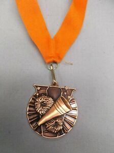 "CHEERLEADING victory 2"" diameter bronze medal award orange neck drape megaphone"