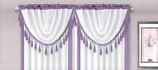 AMY 1PC Lilac  White Faux Silk Rod Pocket Swag Waterfall Dressing Valance