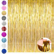 1/3Pcs Foil Fringe Curtain Metallic Tinsel Photo Backdrop Party Decoration 3x8ft