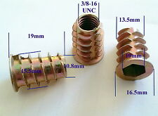 "Qty 10 3/8"" UNC Wood Threaded Flange Insert Zinc Steel Alloy Inserts Allen Nuts"