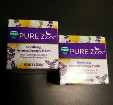 2 Jars Vicks Pure Zzzs Soothing Aromatherapy Balm Lavender & Chamomile 1.76 oz