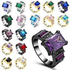 Filled Ring Size 6 7 8 9 Square Gemstone Fashion Jewelry Women Black Gold Silver