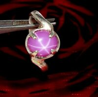 Natural Oval 6 Rays Star Ruby 925 Sterling Silver Ring Gemstone