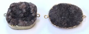 Gold plated Edge Natural Dark Umber Brown Gemstone Pendants-Jewelry Supplies