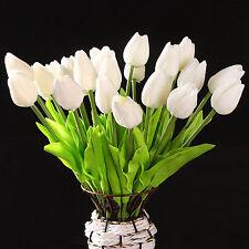 10 pcs White Tulip Flower Latex For Wedding Bouquet KC456 - white HY