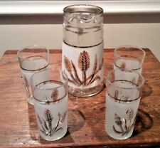 VINTAGE ITALIAN GLASS SET FROSTED PITCHER & 4 MATCHING GLASSES GOLD WHEAT DESIGN
