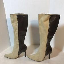 Colin Stuart Boots Women Tan Brown 9 Knee High Suede Leather 4 Inch Heel Pointy