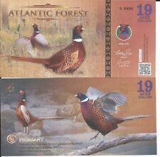 ATLANTIC FOREST BILLETE 19 AVES DOLLARS 2016 SPECIMEN