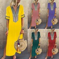 Womens Maxi Beach Dress Short Sleeve Casual Boho Kaftan Tunic Gypsy Ethnic