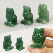 1Pc Natural Jade Green Aventurine Owl Animal Decor Figurine Hand Carved Crafts