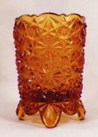 Amber Daisy & Button Toothpick Holder Early American Pattern Glass Hobbs Antique