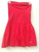 HOLLISTER RED STRAPLESS 100% Cotton  DRESS SIZE S Small NWT New