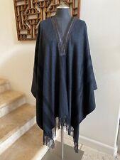 NWOT ETRO Leather-Trim  Fringe Cashmere Shawl Cape Wrap, One Size