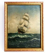 Early 20Th C American Vint Signed Nautical Clipper War Ship O/B W/Ensigns/Framed