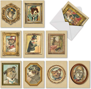 10 Vintage Dog Note Cards with Envelopes 4 x 5.12 inch - Assorted 'Pup Pet Set -