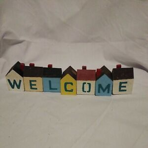 WELCOME HOUSES FOLK ART WOOD BLOCKS AMERICANA CRAFT HOME DECOR COUNTRY 7 PIECE