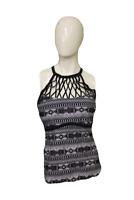 Boutique Black/White Macrame High Neck Tankini Swim Suit Top, Size 1X