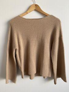 Women's Wool Knit Sweater Jumper Size 8 Beige