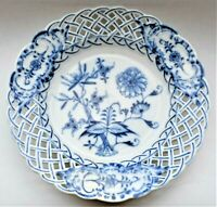 Antique Meissen Reticulated Blue Onion Repaired Side Dish Plate 15cm wide