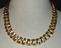 MONET Interlocked Chain Link Choker Gold Tone Vintage Necklace 20""