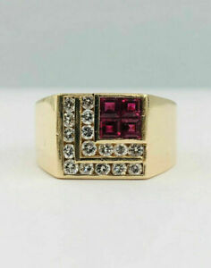 1.6Ct VVS1 Ruby Engagement & Wedding Luxurious Men's Ring 14K Yellow Gold Plated