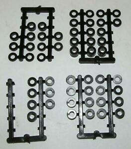 """53 Assorted Plastic Axle Spacers, Vintage 1960s Unused, 1/32"""" to 3/16"""" Thick"""