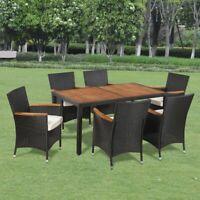 vidaXL 13 Piece Garden Dining Set Acacia Poly Rattan Wicker Outdoor Table Seat