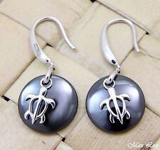 925 Silver Rhodium Hawaiian Honu Sea Turtle Black Ceramic Circle Hook Earrings